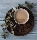 Coffee latte, flovers, top view cup mug beans breakfast morning rustic. Caf stock photography