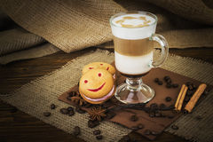 Coffee latte in glass cup Stock Photography