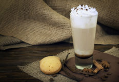 Coffee latte in glass cup Stock Photos