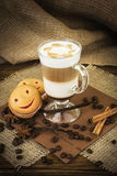 Coffee latte in glass cup Royalty Free Stock Photo