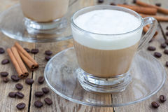 Coffee latte in glass cups Royalty Free Stock Photography