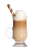 Coffee Latte in glass irish mug with wafer isolated on white. Background royalty free stock photo