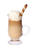 Coffee Latte in glass irish mug with wafer isolated on white. Background stock photo