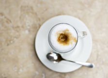 Coffee Latte in a glass on the table. Hot coffee with milk, Latte Stock Photos