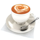 Coffee latte with heart design. On a white background Royalty Free Stock Images
