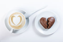 Coffee latte heart shaped chocolate cookies in the shape of hear Stock Photos