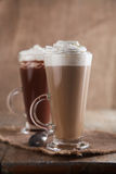 Coffee Latte and Hot Chocolate with whipped cream Stock Photos