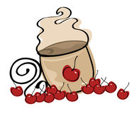 Coffee latte logo. Illustration of a coffee latte logo with cherries Stock Photography
