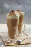 Coffee latte macchiato with cream stock photo