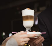 Coffee latte macchiato. With the foam Stock Image