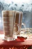 Coffee latte macchiato in glasses royalty free stock photo