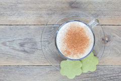 Coffee latte with matcha cookies, top view, copy space Stock Photos