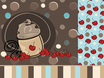 Coffee Latte Mocha. Illustration of a design element coffee latte mocha with tiled cherry background and stripes Stock Photo