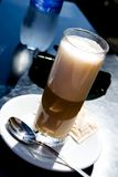 Coffee latte outdoors. Glass of hot coffee latte outdoors Stock Photo