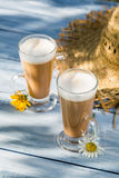Coffee latte served in a sunny day Stock Image