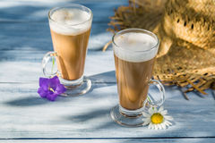 Coffee latte served in a sunny day Stock Images