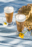 Coffee latte served in a sunny day Stock Photo