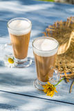 Coffee latte served in a sunny day Royalty Free Stock Image