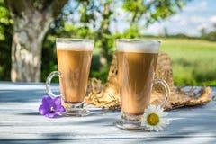 Coffee latte in a sunny garden Stock Photo