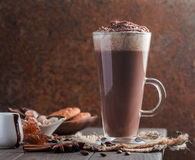 Coffee latte in a tall glass Royalty Free Stock Image