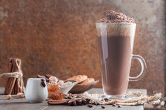 Coffee latte in a tall glass Stock Photography