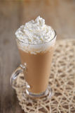 Coffee Latte With Whipped Cream In Rustic Style Stock Photos
