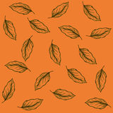 Coffee leaves. Contour of coffee leaves in vintage style on an orange background Stock Image