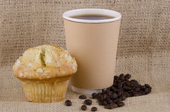 Coffee and lemon poppy seed  muffin Stock Image