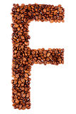 Coffee letter F. On white background Stock Images