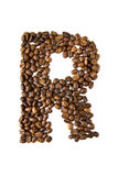 Coffee letter R isolated on white Stock Photos