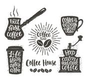 Coffee lettering in cup, grinder, pot shapes. Modern calligraphy quotes about coffee. Vintage coffee objects set . Coffee lettering in cup, grinder, pot shapes Stock Photos