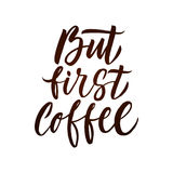Coffee Lettering Poster. Brown Letters on White Background. Stock Photo