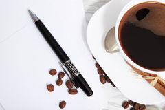 Coffee  and letters Royalty Free Stock Photography