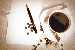 Coffee and letters Stock Photo