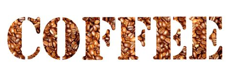Coffee letters royalty free stock photos