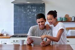 Coffee lifestyle couple tablet Stock Photos