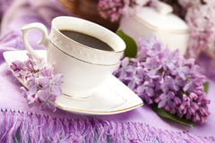 Coffee and lilac Royalty Free Stock Photos