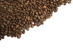 Coffee line. Coffee beans on the isolated white background stock photos