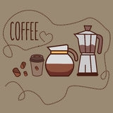 Coffee line icon art cup bean jug jar grinder Royalty Free Stock Photo