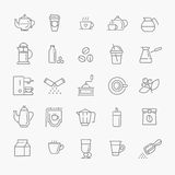 Coffee line icon set. Coffee line vector icon set Stock Photography
