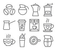 Coffee Line Icons Royalty Free Stock Photo