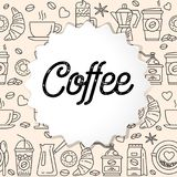 Coffee line icons seamless pattern. Hot drinks flat line icons - coffeemaker machine, beans, cup, grinder. For restaurant menus, business cards, brand design Royalty Free Stock Photos