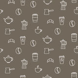 Coffee line icons seamless vector pattern. Stock Photography