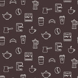Coffee line icons seamless vector pattern. Royalty Free Stock Photo