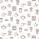 Coffee line icons seamless vector pattern. Royalty Free Stock Image