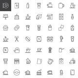 Coffee line icons set. Outline vector symbol collection, linear style pictogram pack. Signs, logo illustration. Set includes icons as coffee house, tea cup Royalty Free Stock Photo