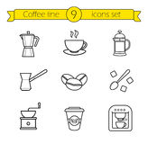 Coffee linear icons set Royalty Free Stock Images