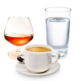Coffee liqueur and a glass of water Stock Photo