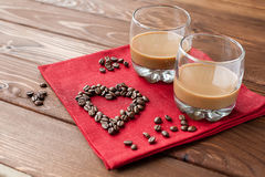 Coffee liqueur with heart Stock Photo