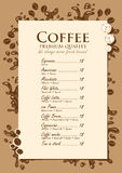 Coffee list Royalty Free Stock Photo
